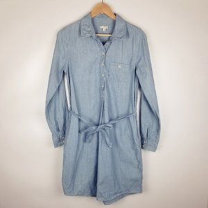 GAP Small Long Sleeve Blue Denim Shirt Dress